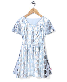 Chic Girls Heart Print Party Dress - Blue & Silver