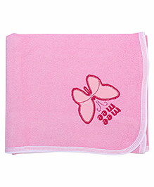 Mee Mee Bath Towel Butterfly Embroidery PK1 MM 1566 - Pink