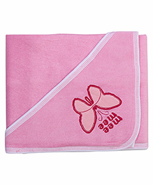 Mee Mee Hooded Bath Towel Butterfly Embroidery PK1 MM 1567 - Pink