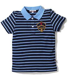 Trombone Striped Print T-Shirt  - Blue