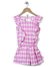 Chic Girls Diamond Print Jumpsuit - Pink