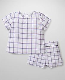 Kiddy Mall Checks Print Top & Skirt - White