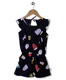 Chic Girls Ice Candy Print Jumpsuit - Black