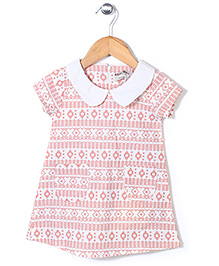 Kiddy Mall Peter Pan Collar Dress - Cream & Peach