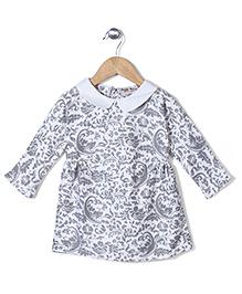 Kiddy Mall Floral Print Dress - Ivory
