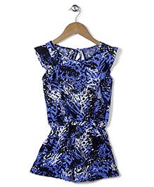 Chic Girls Stylish Printed Jumpsuit - Blue
