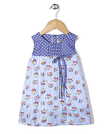 Kiddy Mall Floral Print Dress - Blue