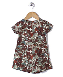Kiddy Mall Floral Print Top - Brown & Green
