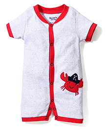 Starters Crab Applique Onesie - Grey & Red