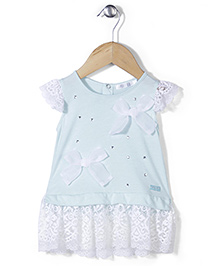 AZ Cute Short Sleeve Dress - White & Aqua Blue