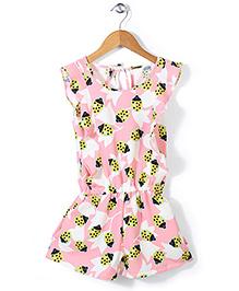 Chic Girls Fruit Printed Jumpsuit - Pink