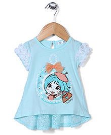 AZ Baby Doll Print Top - Aqua Blue
