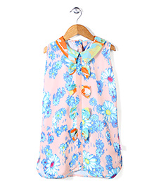 Chic Girls Floral Print Top - Multicolour