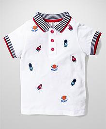 Hallo Heidi Rocket Print T-Shirt - White