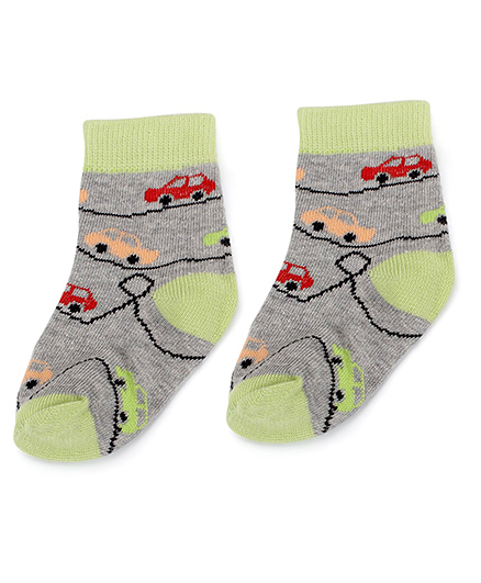 Cute Walk by Babyhug Socks Car Design - Green And Grey