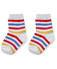 Cute Walk by Babyhug Ankle Length Striped Socks - White & Red