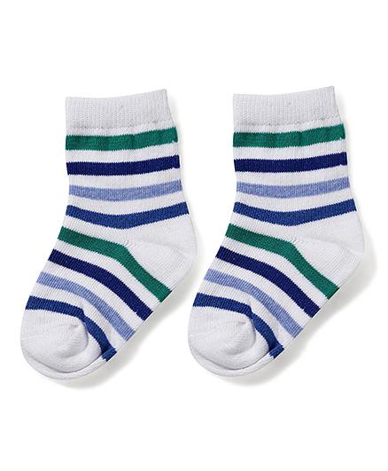 Cute Walk by Babyhug Ankle Length Striped Socks - White & Blue