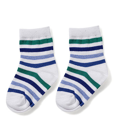 Cute Walk by Babyhug Ankle Length Striped Socks - White & Blue