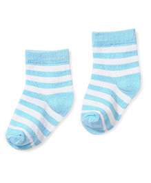 Cute Walk by Babyhug Striped Socks - Aqua & White