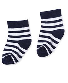 Cute Walk by Babyhug Striped Socks - Navy & White