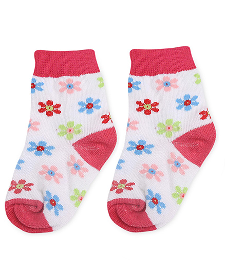 Cute Walk by Babyhug Socks Floral Design - White And Fuchsia