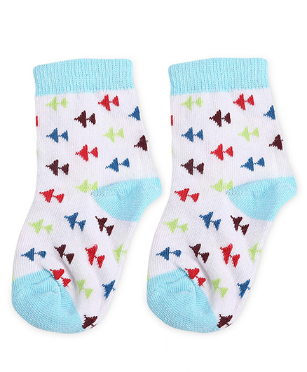 Cute Walk by Babyhug Socks Airplane Design - White And Aqua