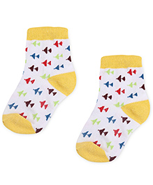 Cute Walk by Babyhug Socks Airplane Design - White And Yellow