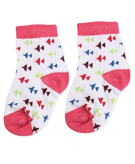 Cute Walk by Babyhug Socks Airplane Design - White And Fuchsia