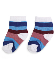 Cute Walk by Babyhug Ankle Length Striped Sock - Indigo Blue & White