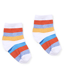 Cute Walk by Babyhug Ankle Length Striped Socks - Orange & White