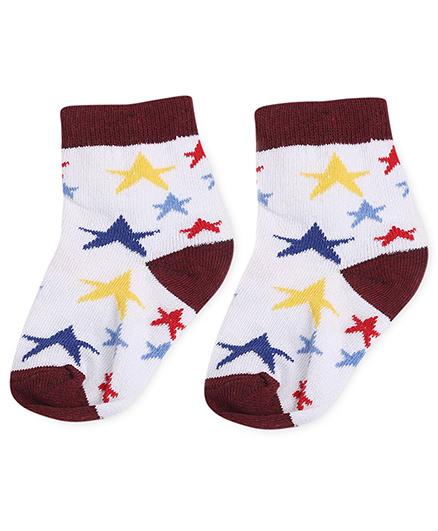 Cute Walk by Babyhug Socks Star Design - White And Sepia