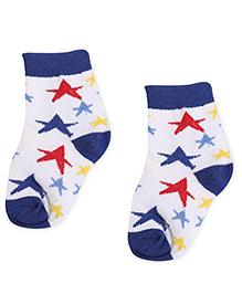 Cute Walk by Babyhug Socks Star Design - White And Royal Blue