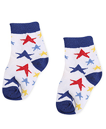 Cute Walk by Babyhug Socks Star Design - White And Royal Blue