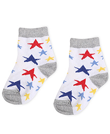 Cute Walk by Babyhug Socks Star Design - White And Grey