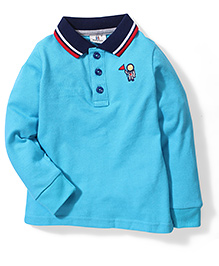 Hallo Heidi Collar Neck T-Shirt - Blue
