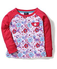 Hallo Heidi Floral Print T-Shirt - Red