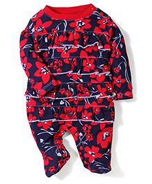 Wonderchild Full Sleeve Flower Print Romper - Navy Blue