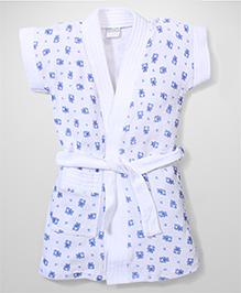 Babyhug Short Sleeves Bathrobe Teddy Design - White Royal Blue