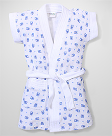 Babyhug Short Sleeves Bathrobe Teddy Design - White Royal Blue