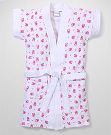 Babyhug Short Sleeves Bathrobe Teddy Design - White Pink