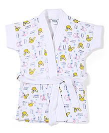 Babyhug Short Sleeves Bathrobe Little Bunny Print - White & Yellow