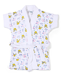 Babyhug Short Sleeves Bathrobe Little Bunny Print - White & Yellow