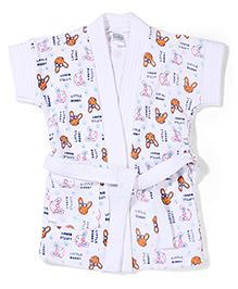 Babyhug Short Sleeves Bathrobe Little Bunny Print - White & Orange