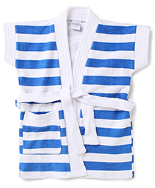 Babyhug Half Sleeves Bathrobe Stripes Pattern - Blue And White
