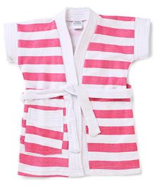 Babyhug Half Sleeves Bathrobe Stripes Pattern - Pink And White