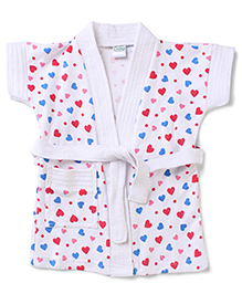 Babyhug Short Sleeves Bathrobe Hearts Design - White Multicolor