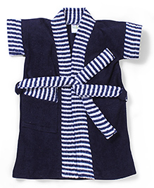 Babyhug Half Sleeves Bathrobe Stripes Print - Blue