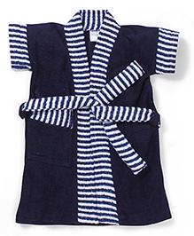 Babyhug Half Sleeves Bathrobe Stripes Print - Blue