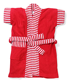 Babyhug Half Sleeves Bathrobe Stripes Print - Red