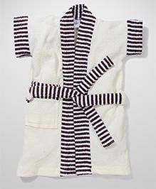 Babyhug Half Sleeves Bathrobe Stripes Print - White